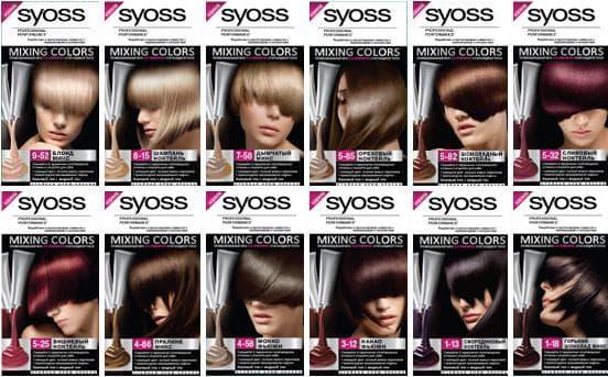 сьес краска для волос палитра