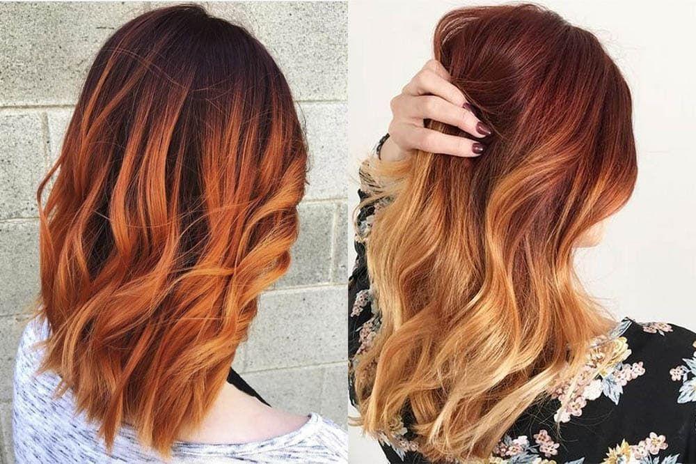 Рыжий цвет волос омбре