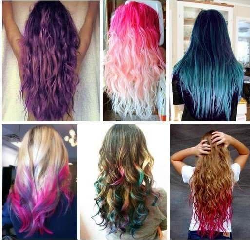 Окрашивание кончиков волос в яркие цвета.