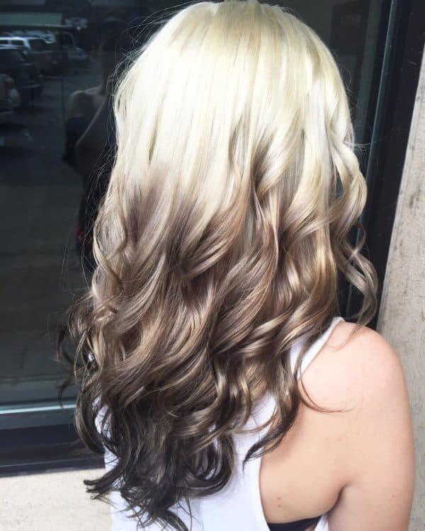 Окрашивание обратное омбре для блондинок